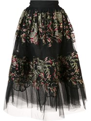 Marchesa Floral Embroidered Sheer Skirt Black