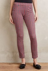 Anthropologie Cropped Plaid Trousers Red Motif