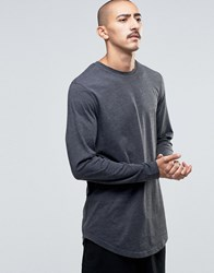 Asos Relaxed Longline Long Sleeve T Shirt With Curve Hem In Charcoal Charcoal Grey