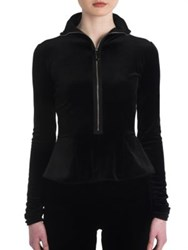 Giorgio Armani Velvet Jersey Zip Up Top Black