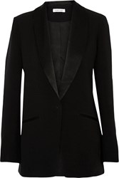 Elizabeth And James Morin Satin Trimmed Crepe Blazer Black