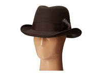 Stacy Adams Homburg Wool Felt Hat W Grograin Band Chocolate Caps Brown