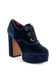 Marc Jacobs Beth Lace Up Velvet Platform Booties Navy Blue