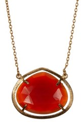 Argentovivo 18K Gold Plated Sterling Silver Carnelian Prong Set Pendant Necklace Red
