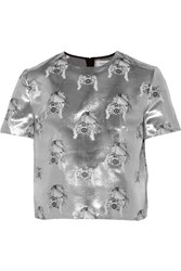 Tanya Taylor Bora Metallic Silk Blend Jacquard Top