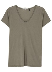 Helmut Lang Grey Cotton And Cashmere Blend T Shirt Khaki