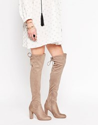 Carvela Pace Over The Knee Boots Taupe Suedette Beige