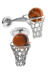 Jan Leslie Basketball And Net Cuff Links Silver Orange