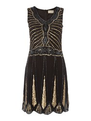 Lace And Beads Sleevelses Embellished Flapper Shift Dress Black