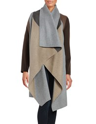 Dawn Levy Colorblocked Cascading Front Wool Blend Coat Heather Grey