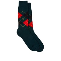 Barneys New York Argyle Mid Calf Socks Green