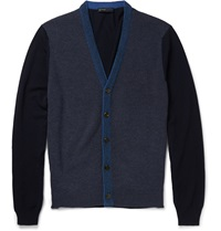 Etro Slim Fit Contrast Knit Wool Cardigan Blue