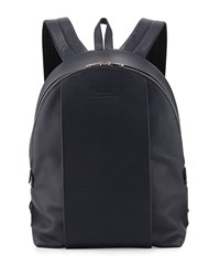Solid Calf Leather Backpack Navy Bally Navy Blue