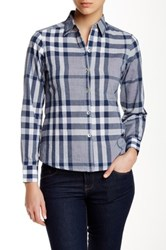 Foxcroft Long Sleeve Navy Plaid Cotton Shirt Petite Blue