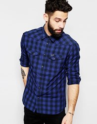 Wrangler Long Sleeve Check Heritage Western Shirt Navy
