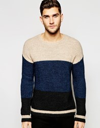 Sisley Knitted Jumper With Colour Block Blue