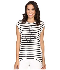 The Beginning Of Fiona High Low Tee W Anchor White Indigo Women's T Shirt