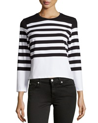 Chelsea And Theodore Striped Knit Crop Top White Black