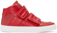 Maison Martin Margiela Red Leather High Top Sneakers