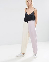 Asos White Colour Block Cami Jumpsuit Black Nude Pink Multi