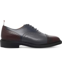 Thom Browne Two Tone Leather Oxford Shoes Navy