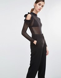 Asilio Blush Hour Knitted Bodycon Bodysuit With Cold Shoulder Black