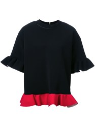 Marni Short Sleeve Ruffle Sweatshirt Red