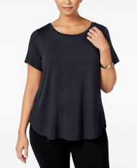 Alfani Plus Size High Low T Shirt Deep Black