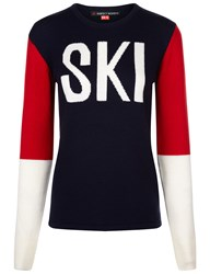 Perfect Moment Navy Wool Colour Block Ski Sweater Multi