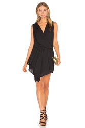 Krisa Asymmetrical Surplice Dress Black
