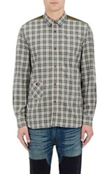 Junya Watanabe Man Comme Des Garcons Men's Contrast Yoke And Elbow Patch Plaid Flannel Shirt Green