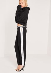 Missguided Eyelet Lace Up Side Joggers Black