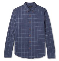 J.Crew Windowpane Checked Brushed Cotton Twill Shirt Storm Blue