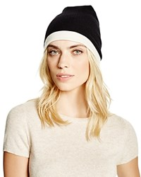 Theory Hody Color Block Cashmere Beanie Bloomingdale's Exclusive Black Ivory