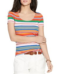 Lauren Ralph Lauren Striped Scoop Neck Tee Multi