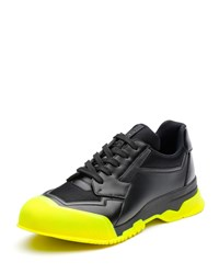 Prada Leather Trainer Sneaker With Contrast Sole Men's Size 9.5 10.5Us Black Green