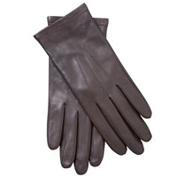 John Lewis Fleece Lined Leather Gloves Chocolate