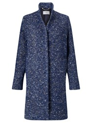 Marella Ibis Wool Blend Tweed Coat Navy