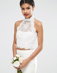 Asos Bridal Lace Halter Top With Button Back White