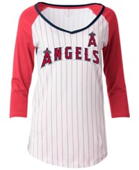 5Th And Ocean Women's Los Angeles Angels Of Anaheim Pinstripe Glitter Raglan T Shirt White