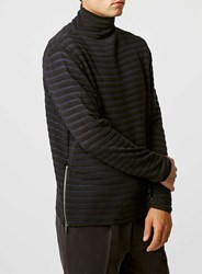 Topman Lux Sheer Stripe Roll Neck Jumper Black