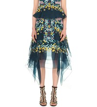 Peter Pilotto Geometric Embroidered Silk Organza Skirt Navy