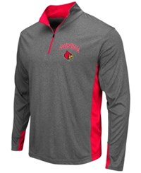 Colosseum Men's Louisville Cardinals Atlas Quarter Zip Pullover Charcoal Red