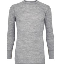 Snow Peak Textured Wool And Cotton Blend Base Layer T Shirt Gray