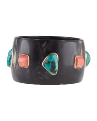 Ashley Pittman Coral And Turquoise Dark Horn Bangle
