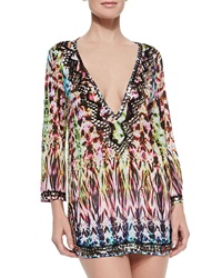 Milly Batik Printed Beaded Deep V Coverup