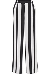 Msgm Pleated Striped Crepe Wide Leg Pants White