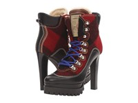 Dsquared Lace Up Heeled Winter Boot Black Red Women's Lace Up Boots