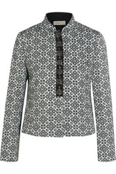 Tory Burch Embellished Cotton Blend Jacquard Jacket Midnight Blue