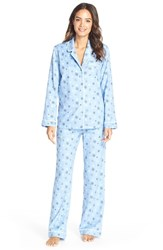Women's Nordstrom Flannel Pajamas Blue Lustre Snowflakes
